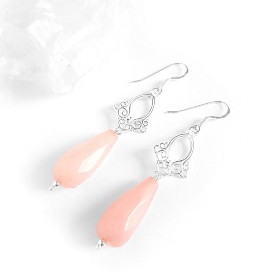Kolczyki różowy jadeit...