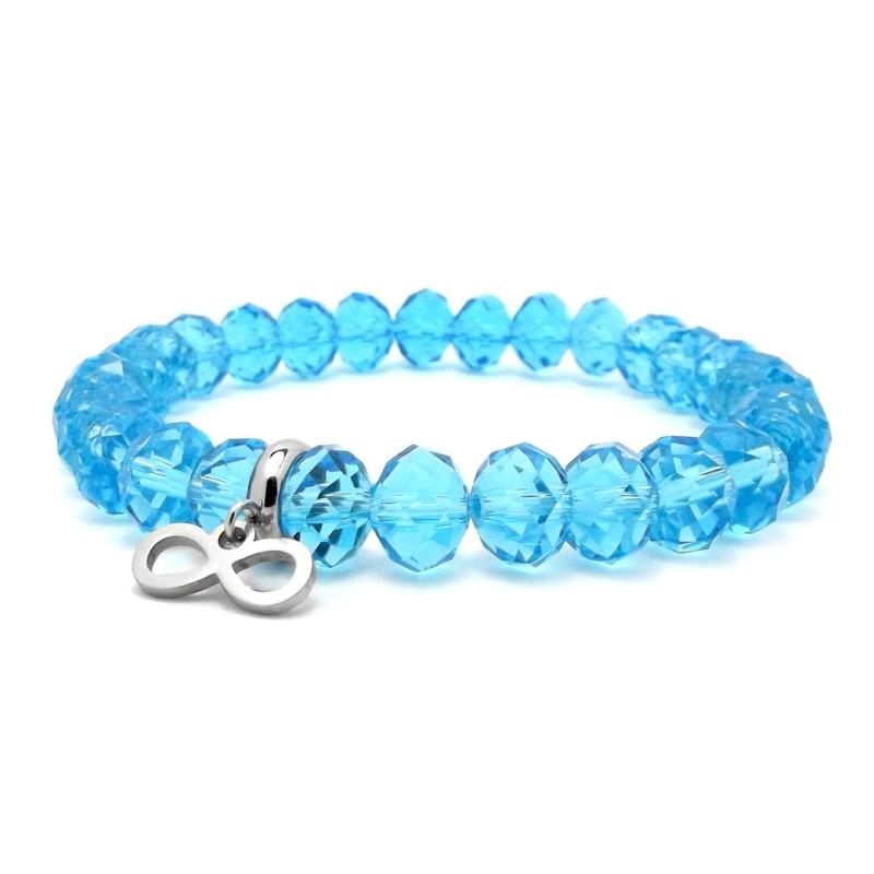 niebieska bransoletka z kryształków zawieszka nieskończoność stal chirurgiczna