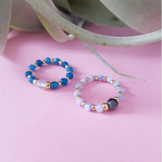 Pierścionek elastyczny muszla i larvikit Baby blue and gray