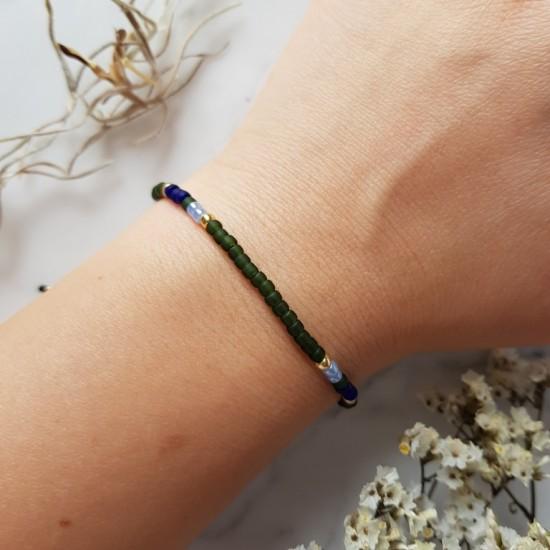 Zielono niebieska bransoletka na sznurku Tiny Okinawa