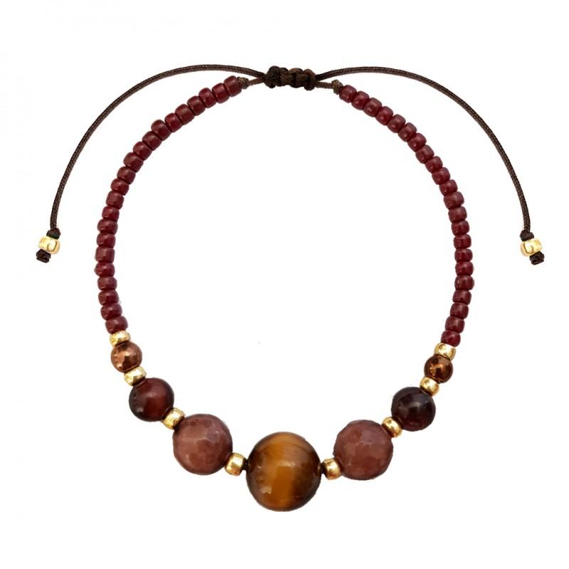 Brązowa bransoletka tygrysie oko i jadeit na sznurku