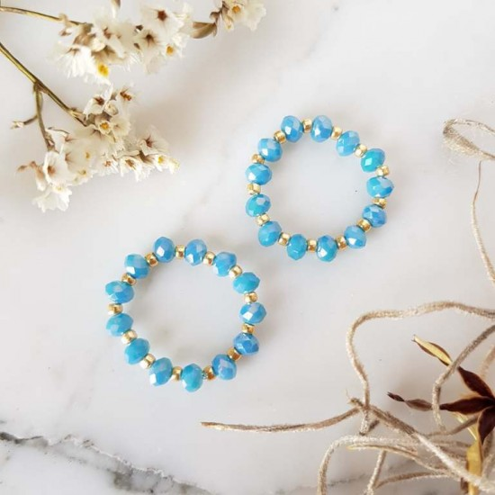 Pierścionek elastyczny niebieskie kryształki Blue parrot
