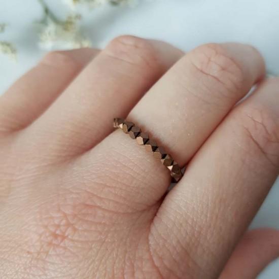Pierścionek elastyczny miedziany hematyt Copper cubes