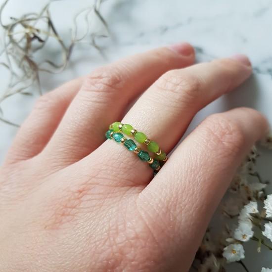 Pierścionek elastyczny zielone kryształki Juicy lime
