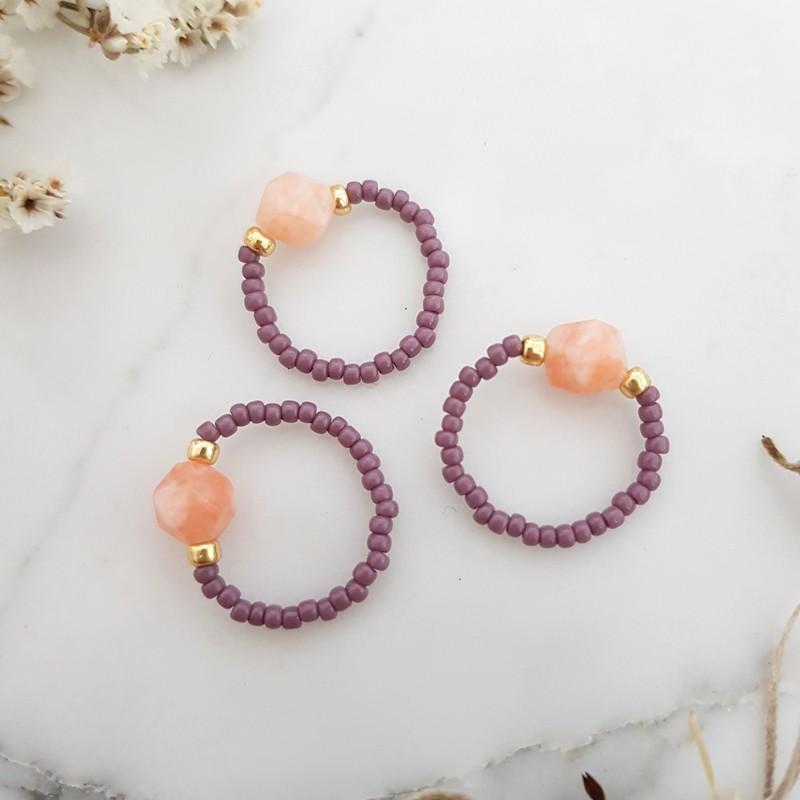 Pierścionek elastyczny jadeit Coral and purple