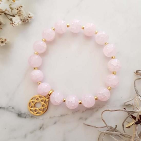 Różowa bransoletka złota rozeta stal chirurgiczna