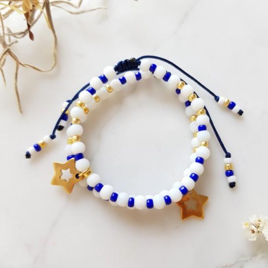 Granatowa bransoletka na sznurku z gwiazdką dla dziewczynki