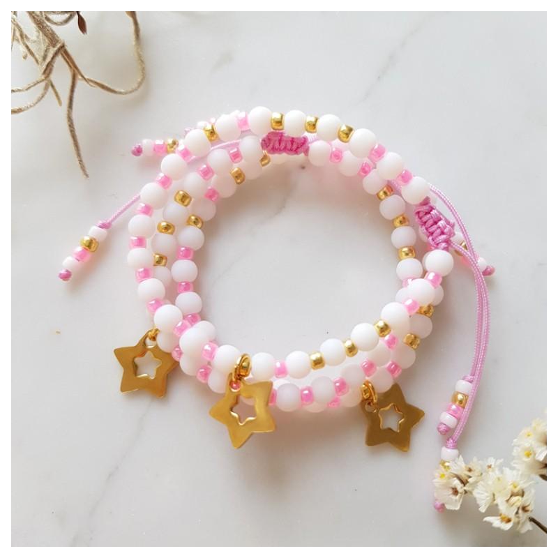 Różowa bransoletka na sznurku z gwiazdką dla dziewczynki