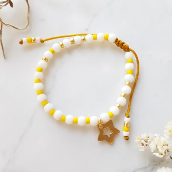 Żółta bransoletka na sznurku z gwiazdką dla dziewczynki