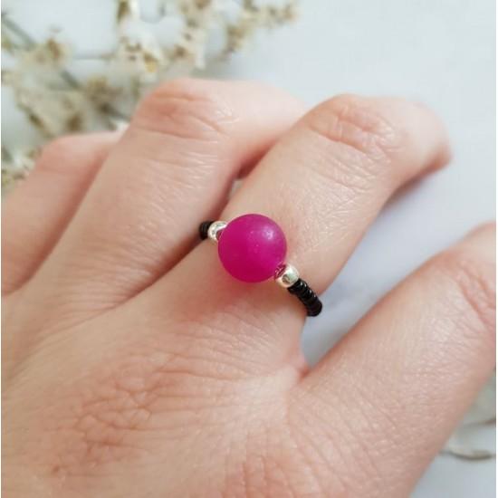 Pierścionek elastyczny fuksjowy jadeit Big pink