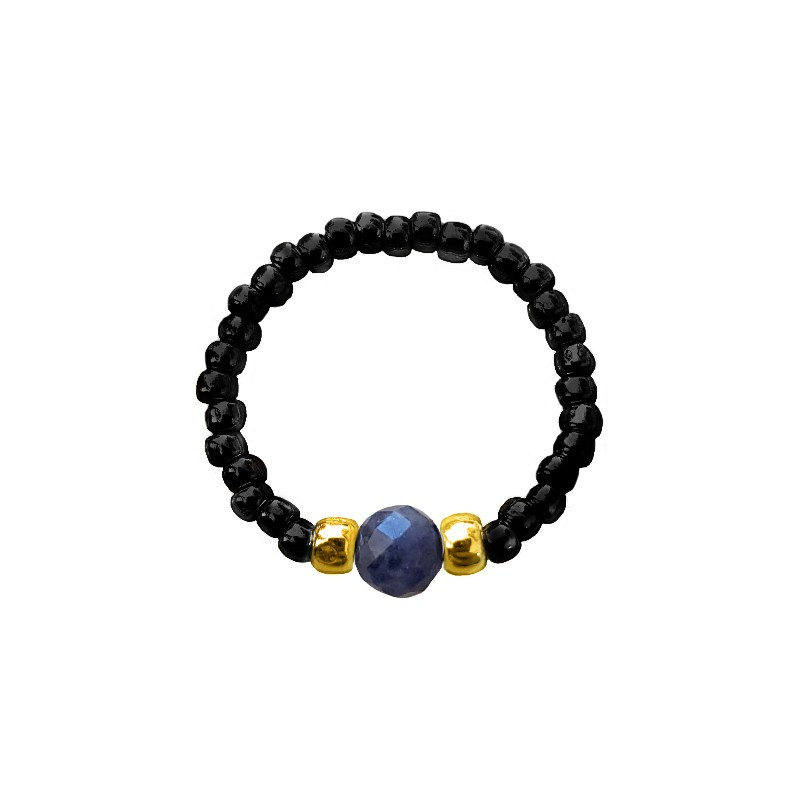 Pierścionek elastyczny sodalit Black and sodalite