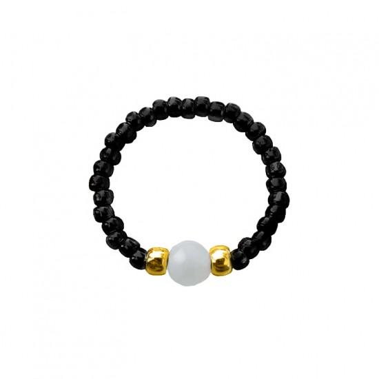 Pierścionek elastyczny akwamaryn Black and aquamarine