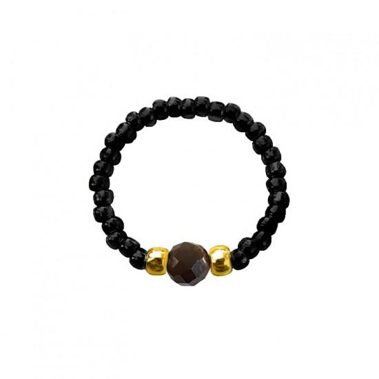 Pierścionek elastyczny obsydian złoty Black and gold
