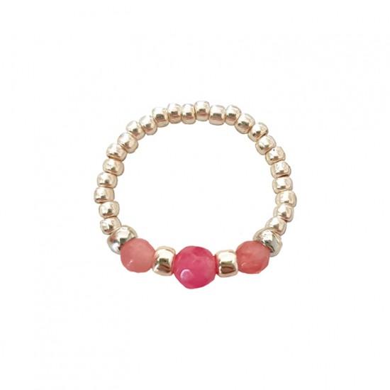 Pierścionek elastyczny różowe jadeity Pink wreath