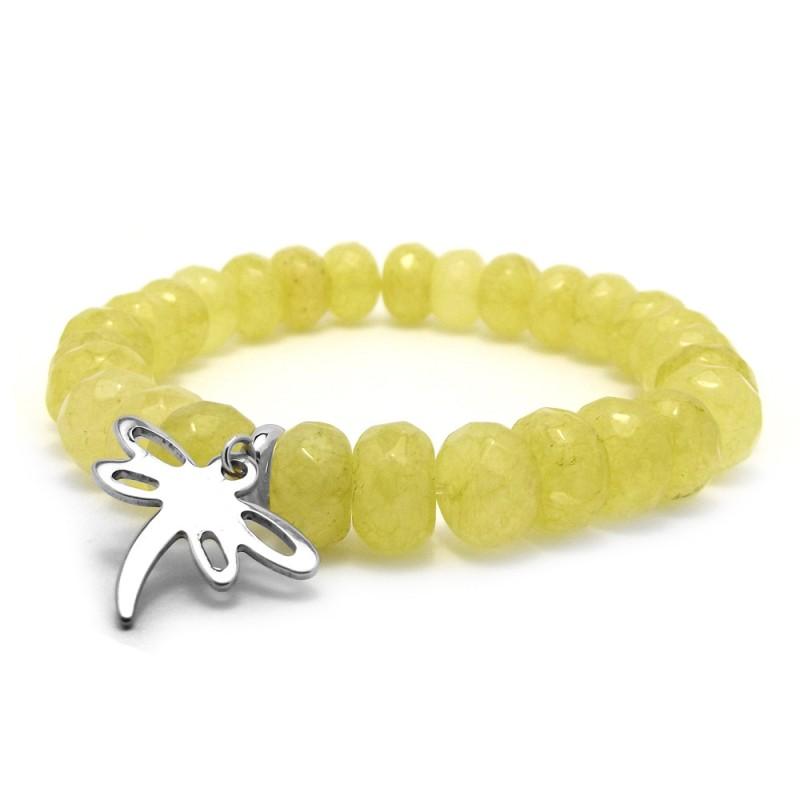 Limonkowa bransoletka dla dzieci jadeit i srebrna ważka stal chirurgiczna