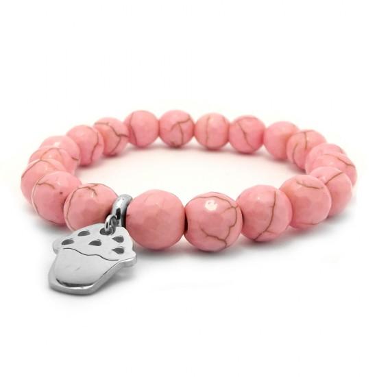 Różowa bransoletka dla dzieci howlit i srebrna muffinka stal chirurgiczna