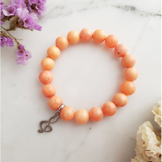 Pomarańczowa bransoletka dla dzieci jadeity i srebrny klucz wiolinowy stal chirurgiczna