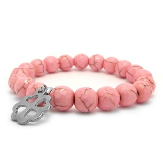 Różowa bransoletka dla dzieci howlit i srebrna koniczynka stal chirurgiczna