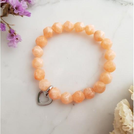 Pomarańczowa bransoletka dla dzieci jadeit i srebrne serce stal chirurgiczna