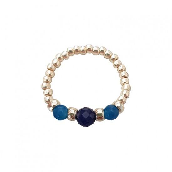 Pierścionek elastyczny sodalit i jadeit Blue wreath
