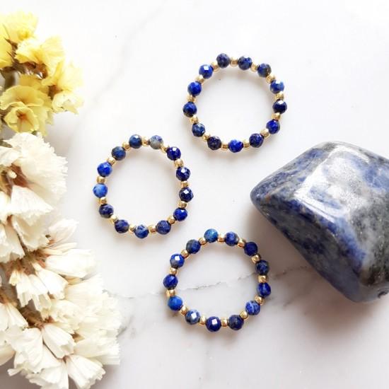 Pierścionek elastyczny lapis lazuli Amazing blue