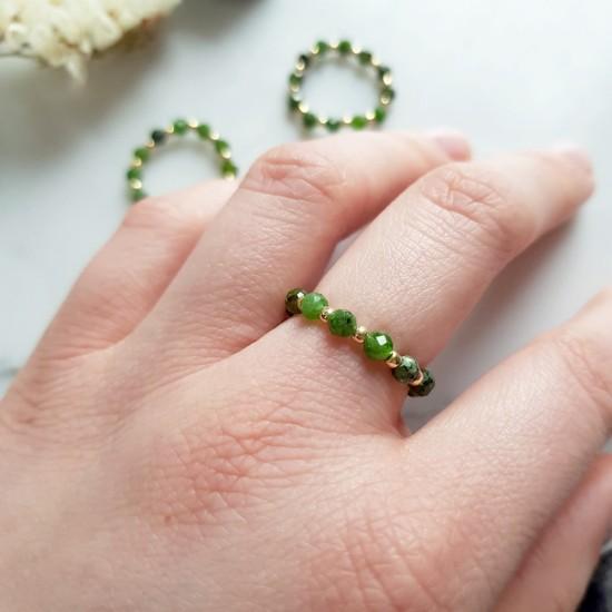 Pierścionek elastyczny diopsyd chromowy Greener shade of green