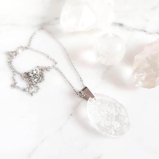Naszyjnik kryształ górski na srebrnym łańcuszku stal chirurgiczna v.2
