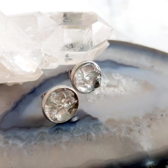 Kolczyki sztyfty kryształ górski w żywicy stal chirurgiczna