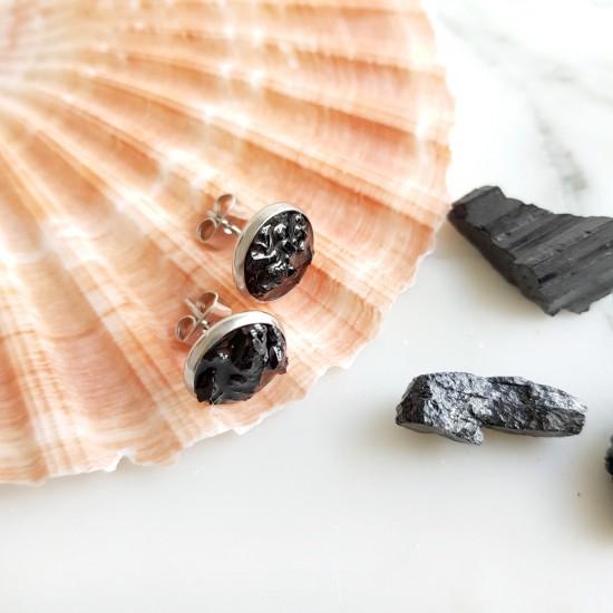 Kolczyki sztyfty czarny turmalin w żywicy stal chirurgiczna