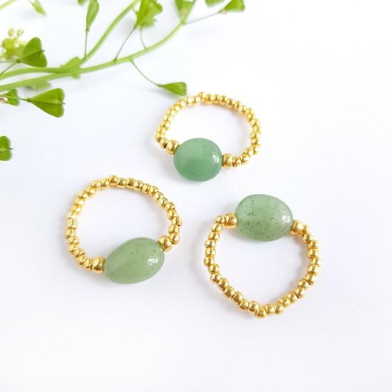 Pierścionek elastyczny awenturyn Gorgeous green
