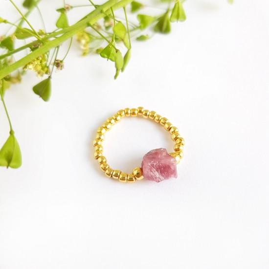 Pierścionek elastyczny surowy różowy turmalin Unique pink