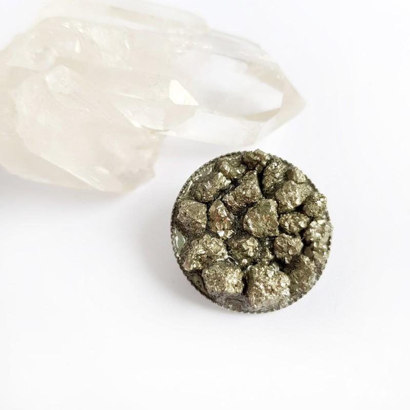 Broszka z kamieniami naturalnymi piryt