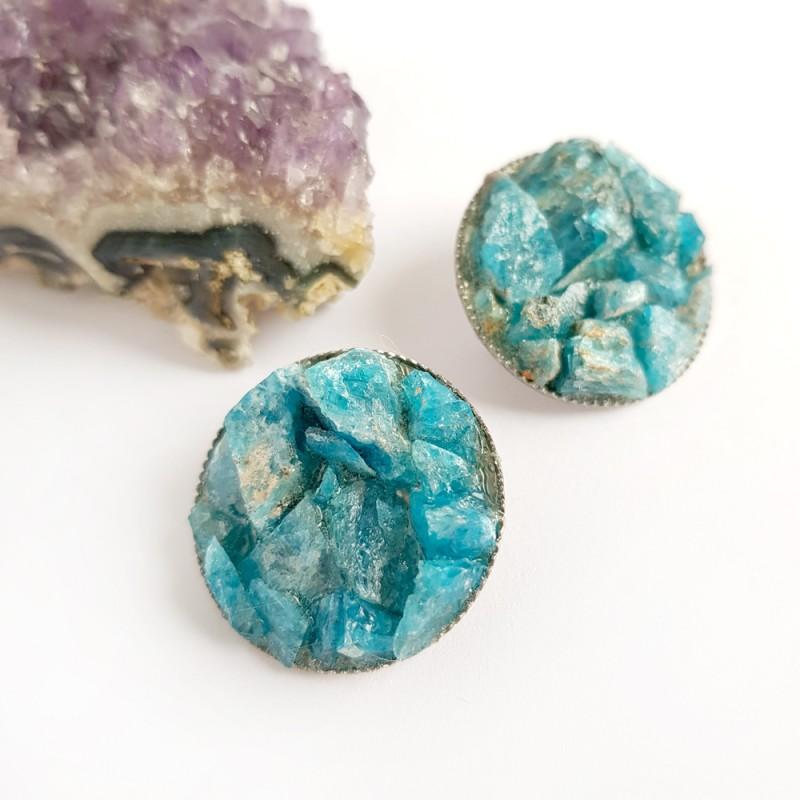 Broszka z kamieniami naturalnymi apatyt