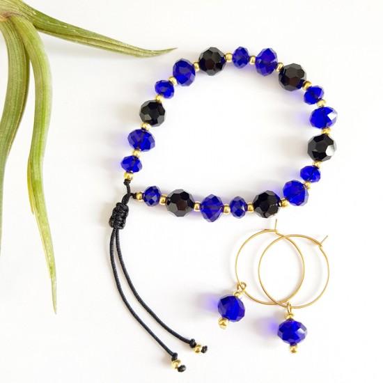 Zestaw biżuterii kobalt-czerń bransoletka i kolczyki stal chirurgiczna