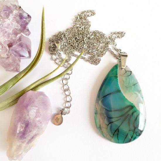 Bransoletka z niebieskiego jadeitu z zawieszką baletnica