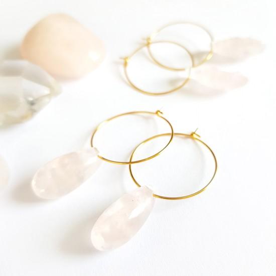 Kolczyki wiszące kwarc różowy łezka na złotych kółeczkach stal chirurgiczna