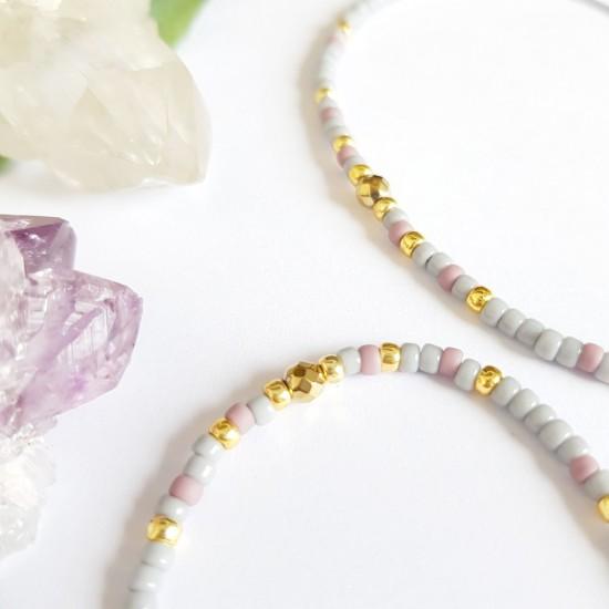 Pleciona bransoletka z hematytem złoto makrama