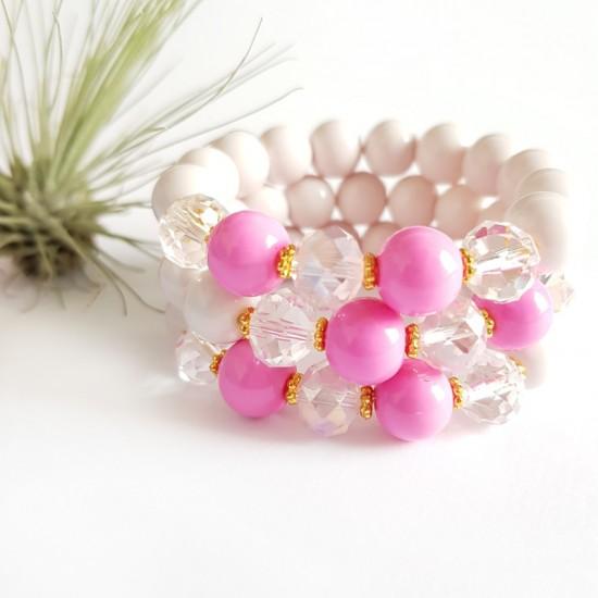 Kremowo-różowa bransoletka...