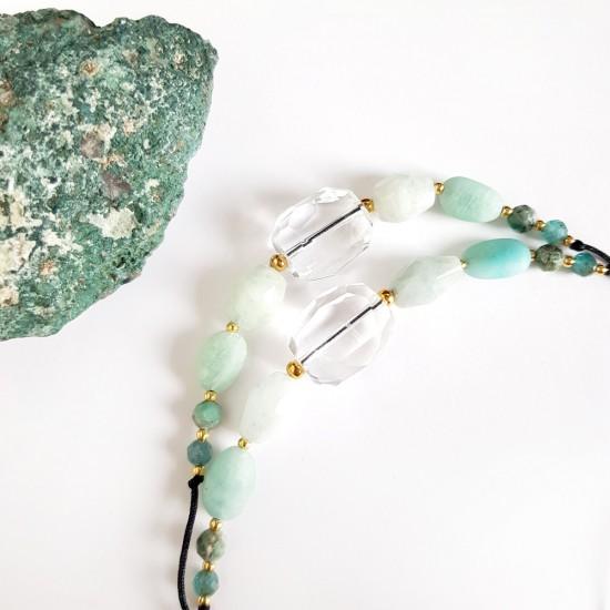 Męska bransoletka ze sznurka i błękitnych koralików