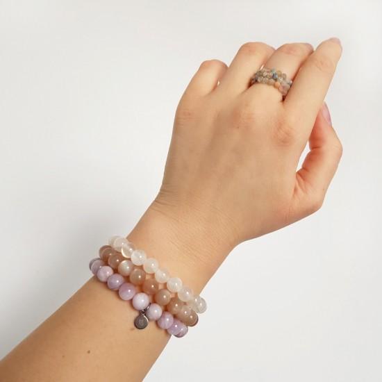 Zestaw bransoletek z kamieni Colorful hamsa